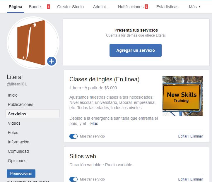 En tu página de Facebook puedes agregar tus servicios
