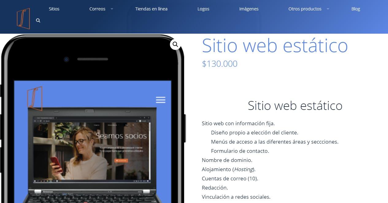 Screenshot Tienda en línea sitio estático